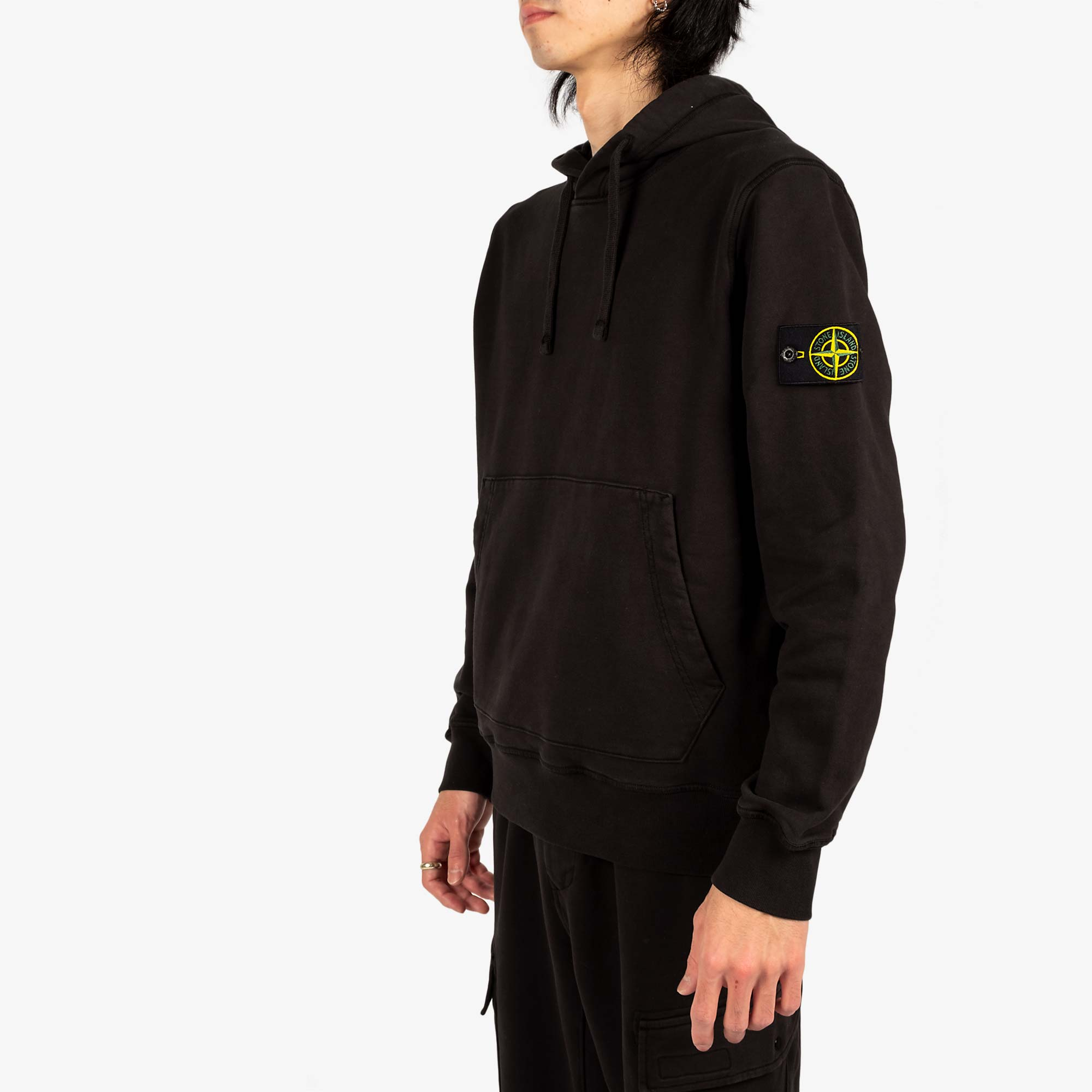 Stone Island Garment Dyed Hooded Sweat 741564151 - Black 7