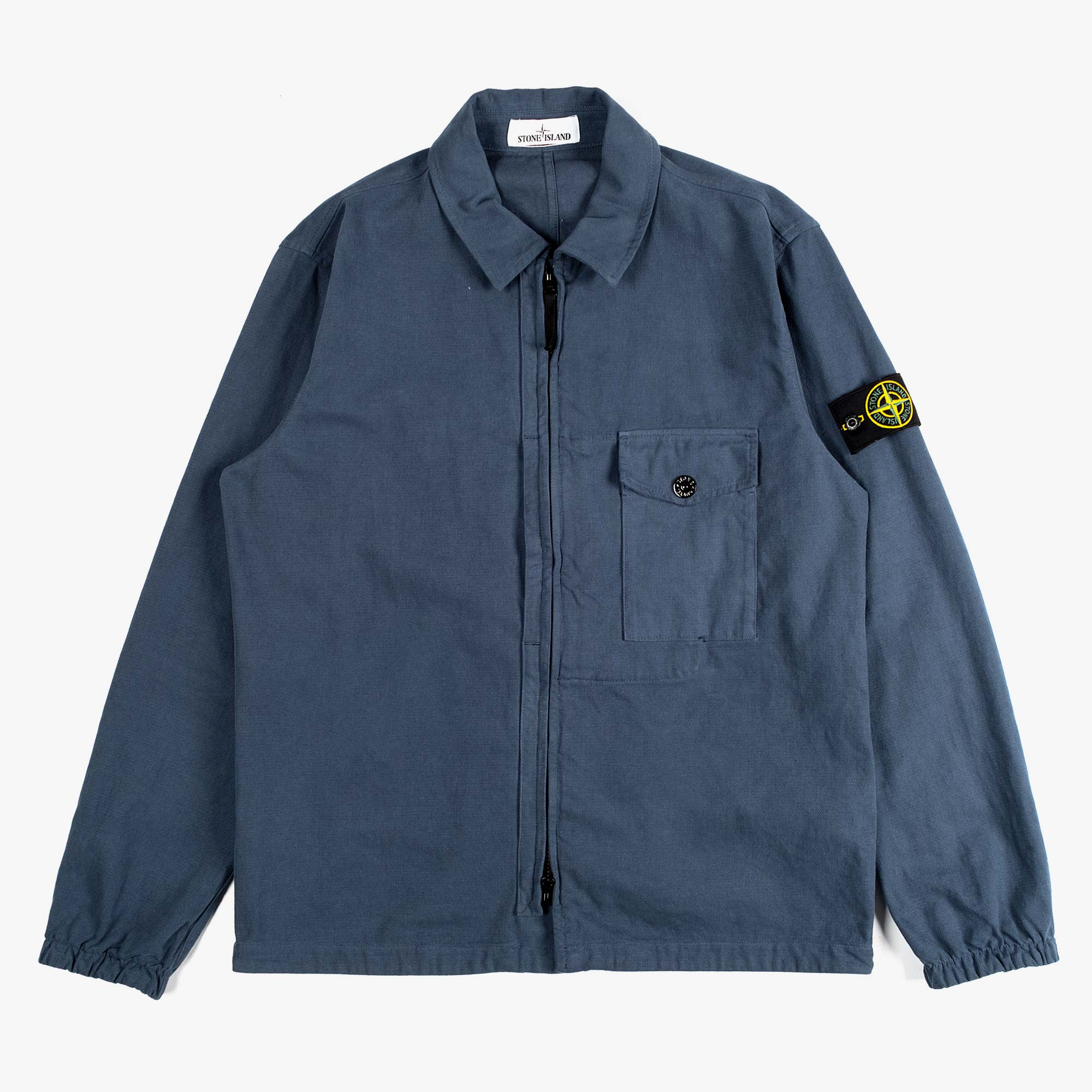 Stone Island Textured Brushed Recycled Cotton Overshirt 10704 - Cobalt Blue 1