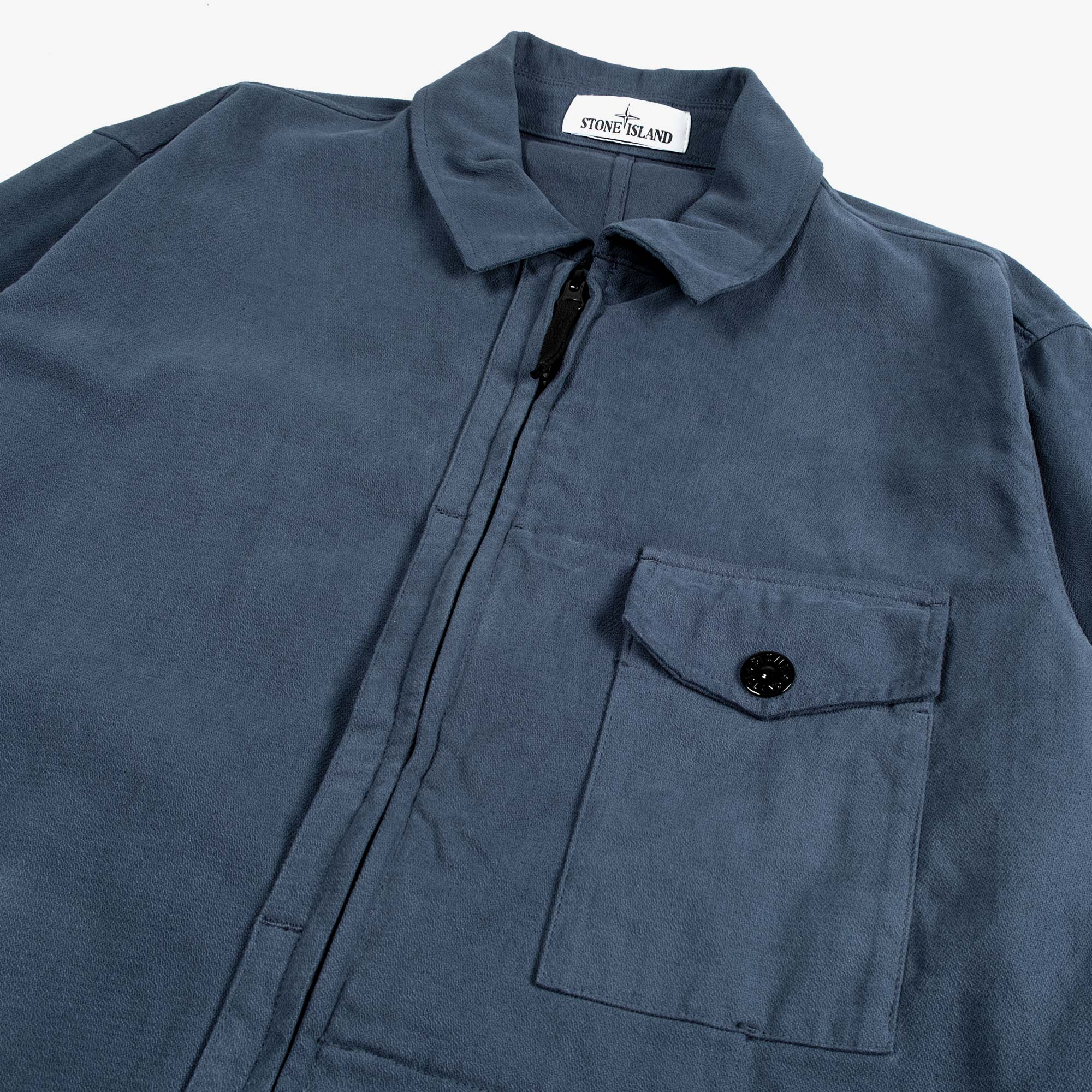 Stone Island Textured Brushed Recycled Cotton Overshirt 10704 - Cobalt Blue 3