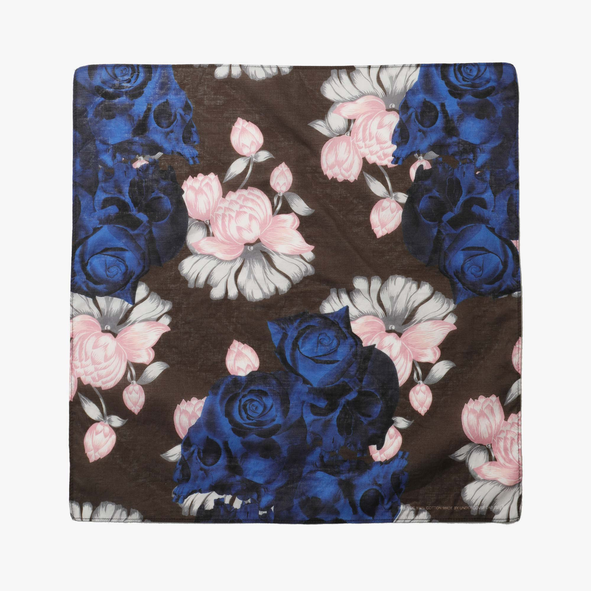 Undercover Roses Skull Pocket Square UC1A4M01-3 - Brown Base 1