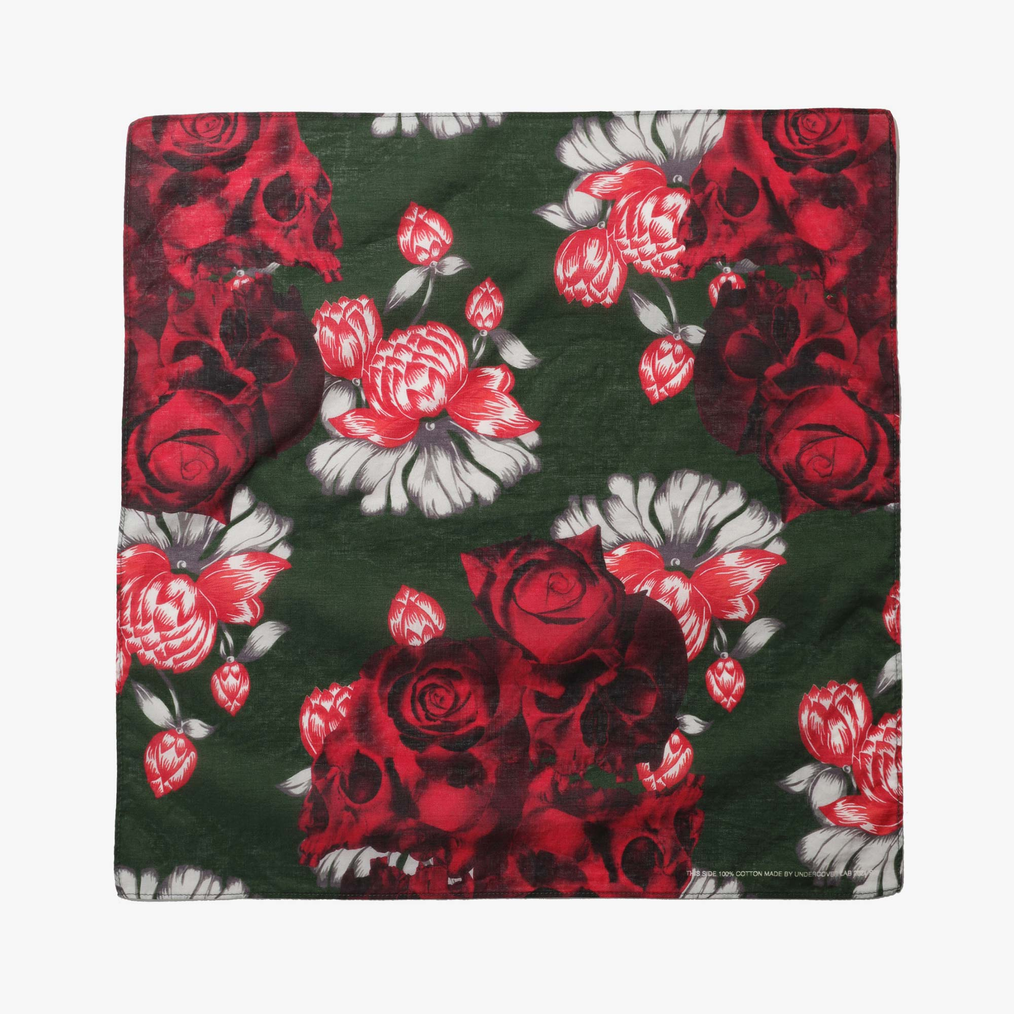 Undercover Roses Skull Pocket Square UC1A4M01-3 - Green Base 1