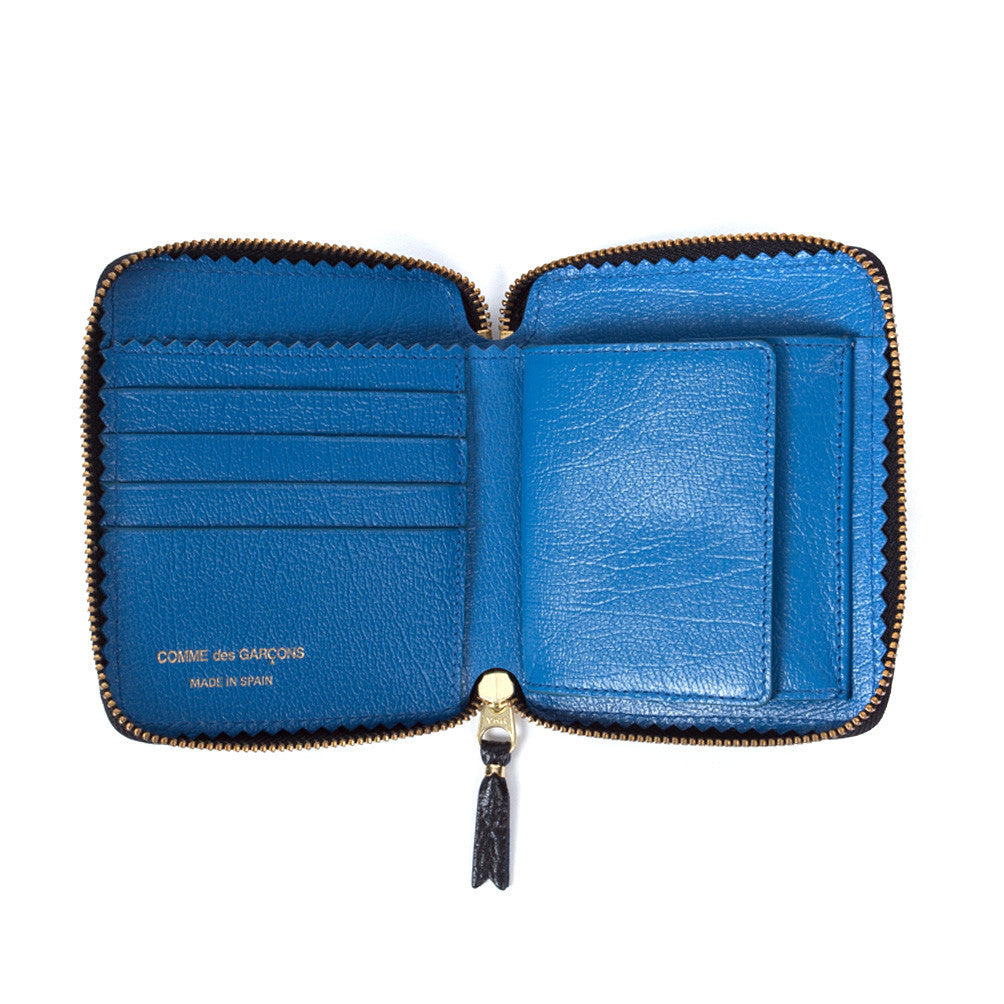 Comme des Garçons - Wallet Colour Inside Classic Zip SA2100IC - Black / Blue 2