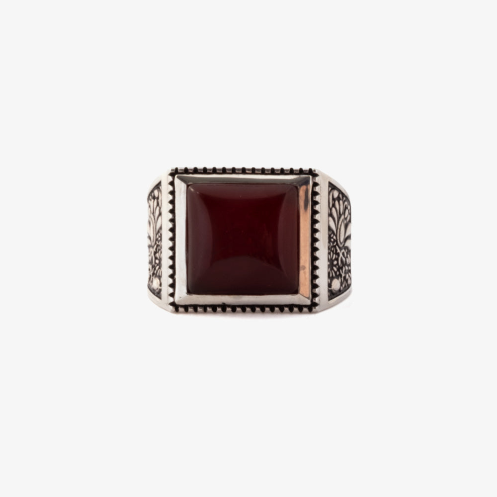 Maple Buick Ring - Silver 925 / Red Garnet 1