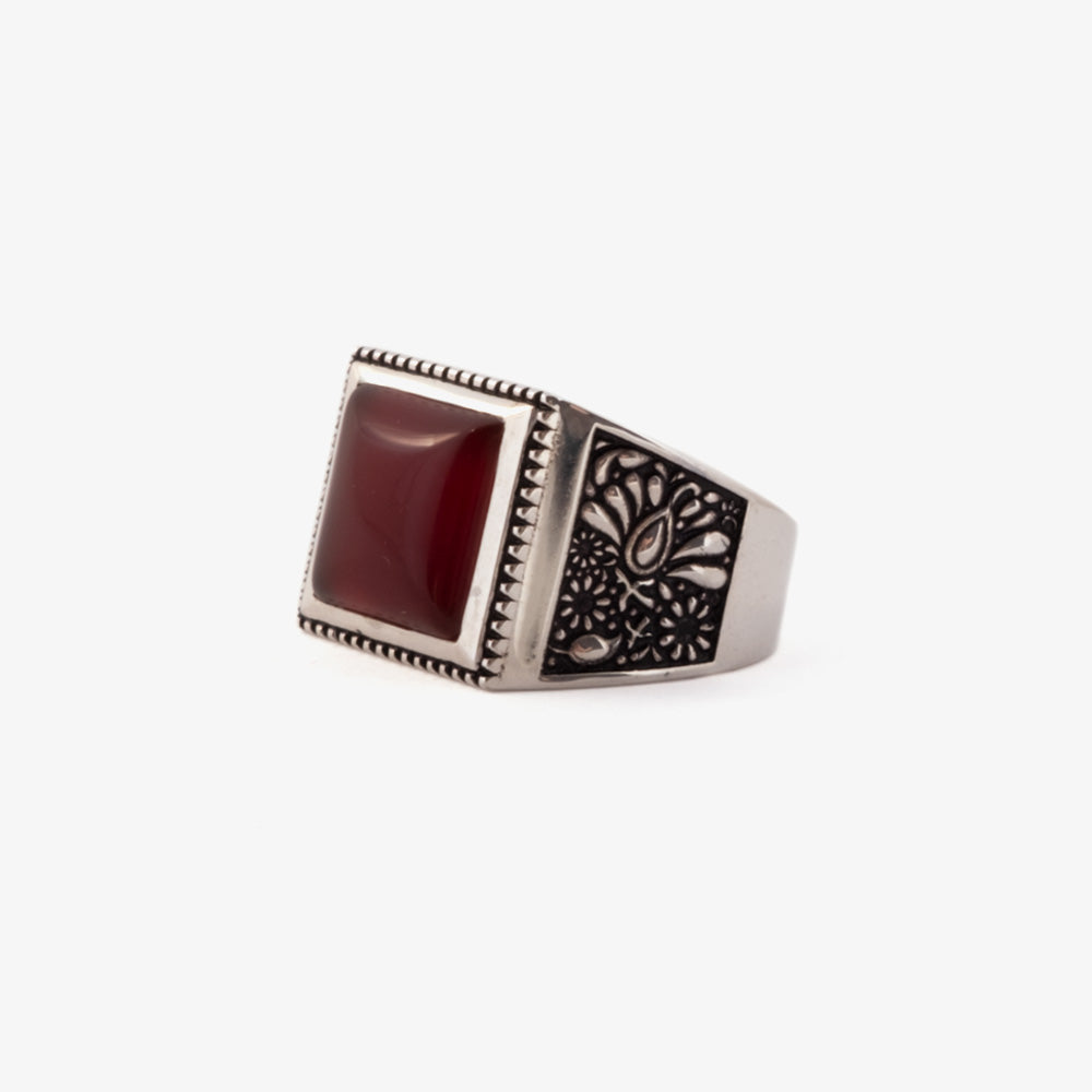 Maple Buick Ring - Silver 925 / Red Garnet 2