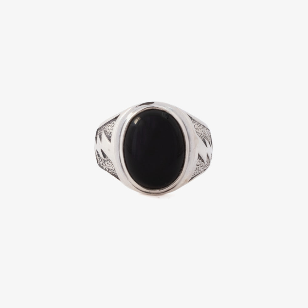 Maple Lightning Signet Ring - Silver 925 / Onyx 1