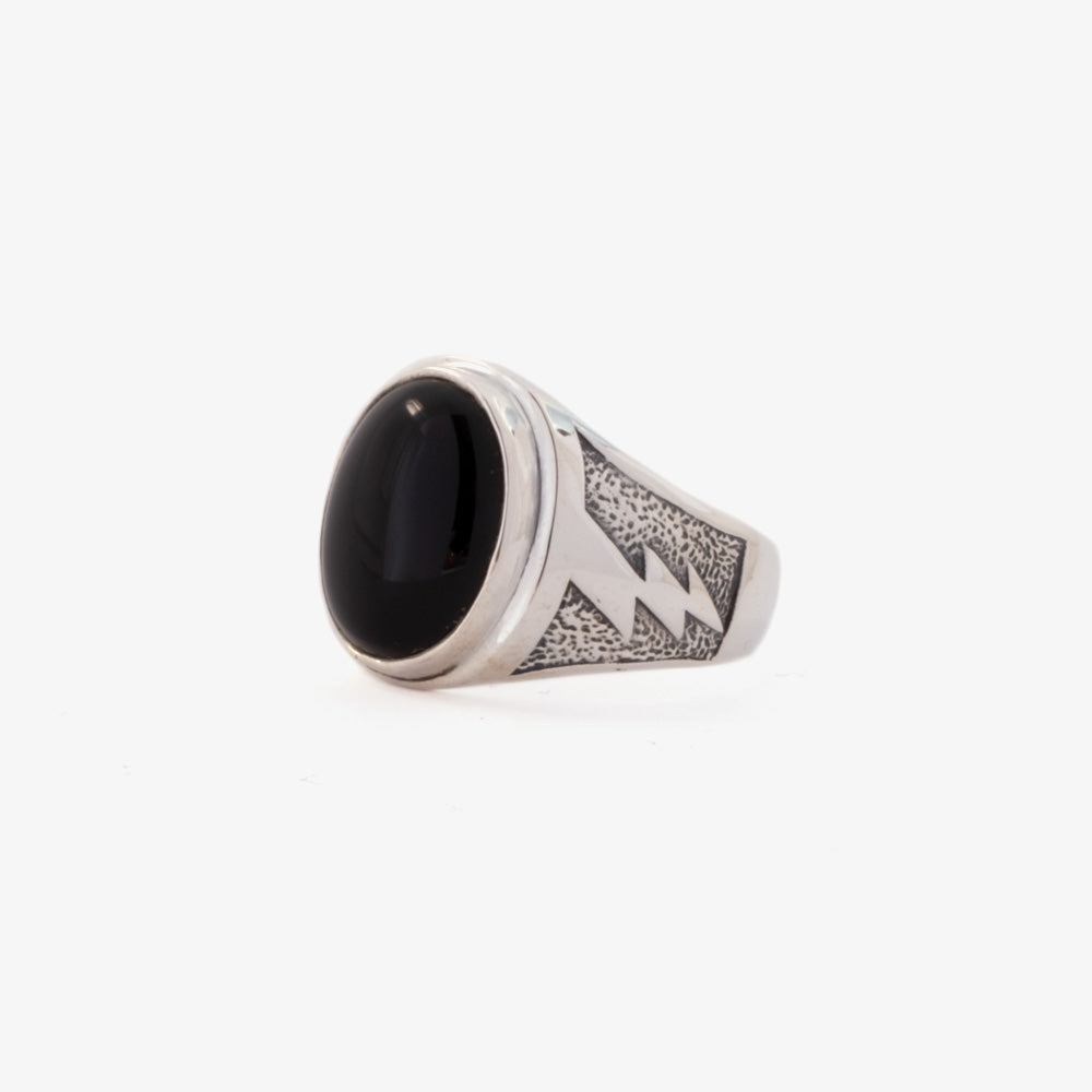 Maple Lightning Signet Ring - Silver 925 / Onyx 2