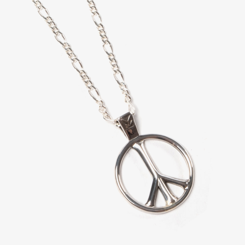 Maple Peace Pendant + Figaro Chain - Silver 925 2