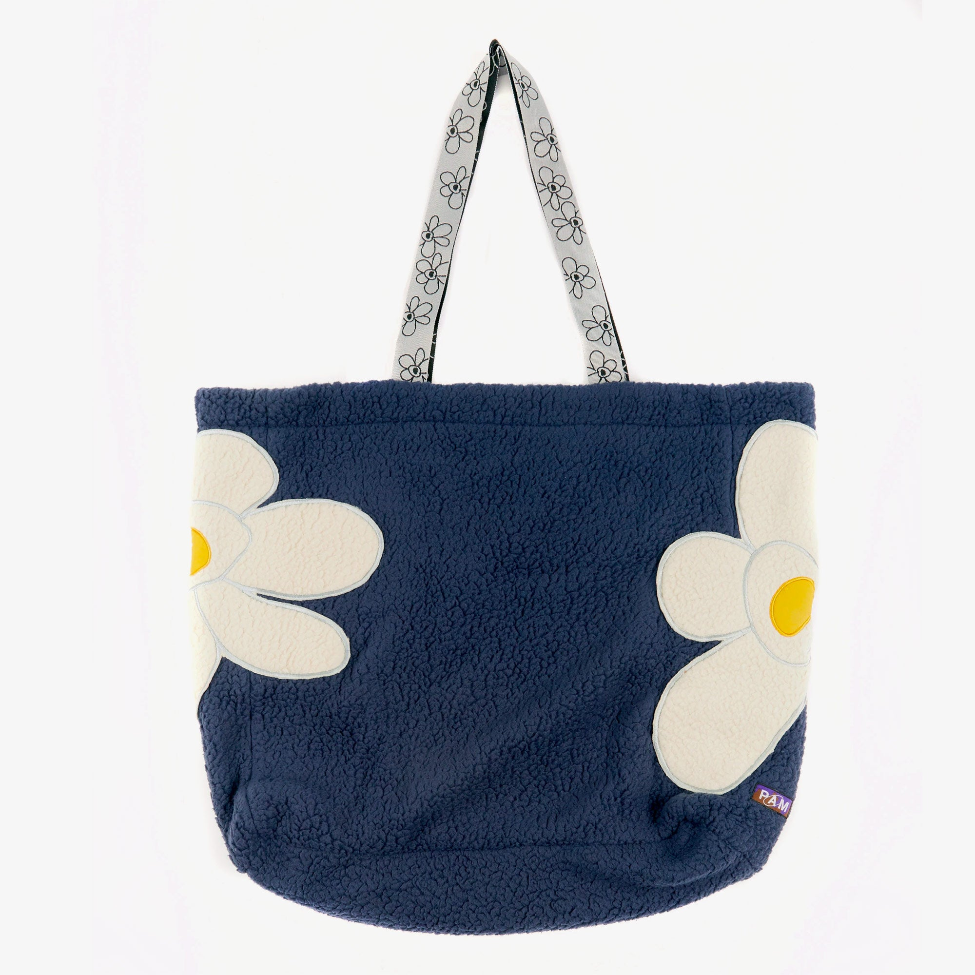 Perks and Mini (P.A.M.) Popping Gestures Recycled Shearling Tote Bag - Navy Fog 1