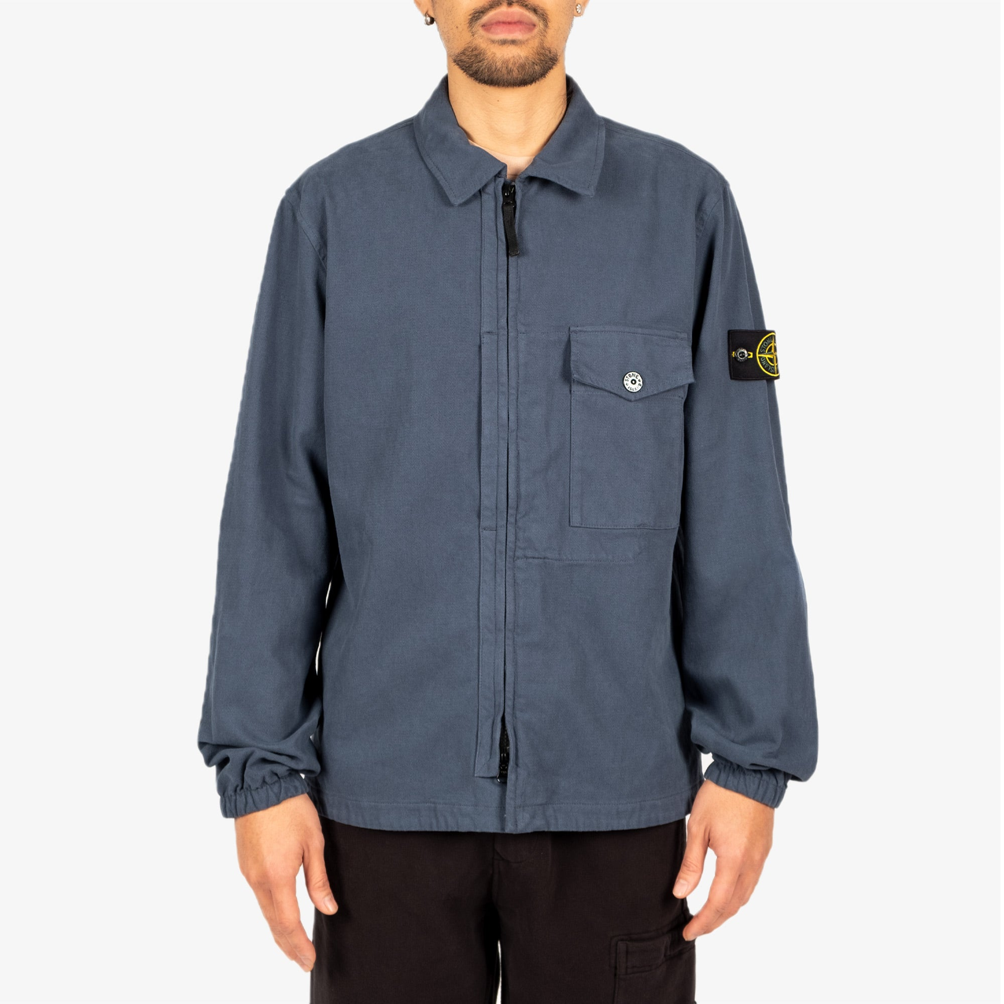 Stone Island Textured Brushed Recycled Cotton Overshirt 10704 - Cobalt Blue 2