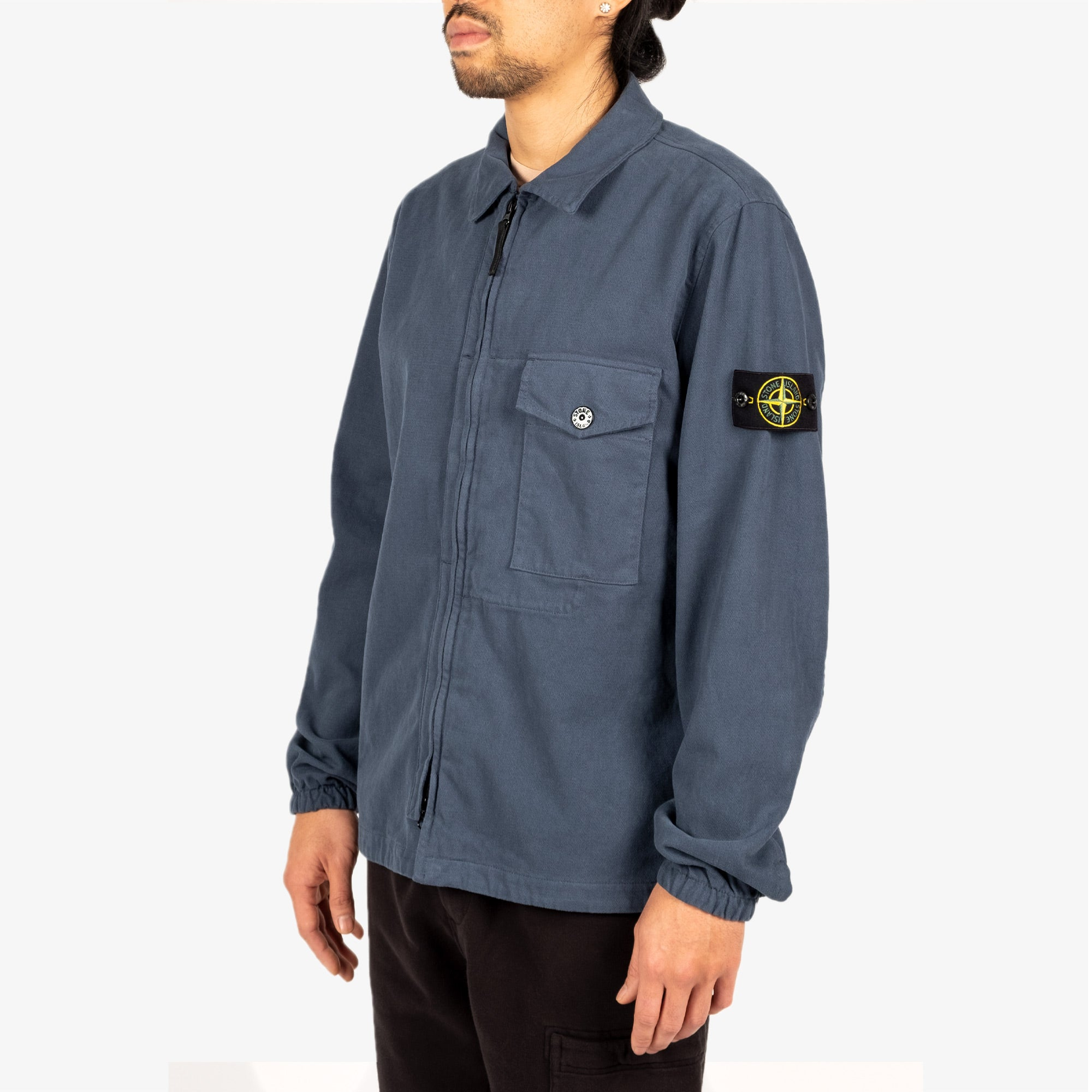 Stone Island Textured Brushed Recycled Cotton Overshirt 10704 - Cobalt Blue 5