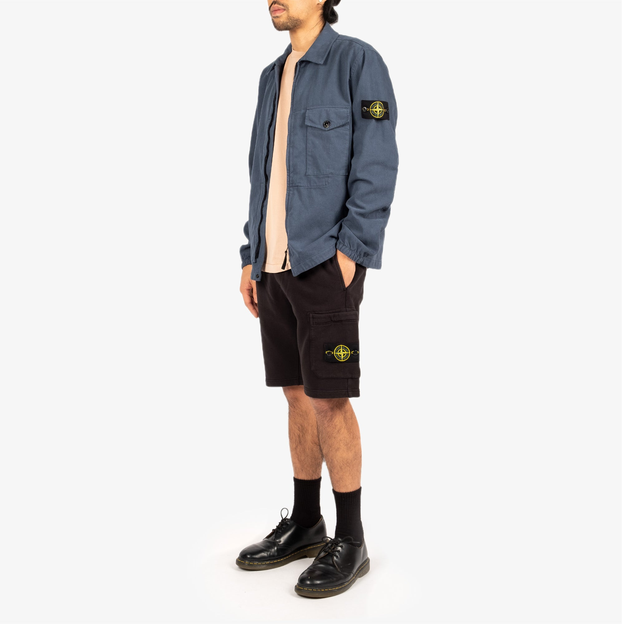 Stone Island Textured Brushed Recycled Cotton Overshirt 10704 - Cobalt Blue 8