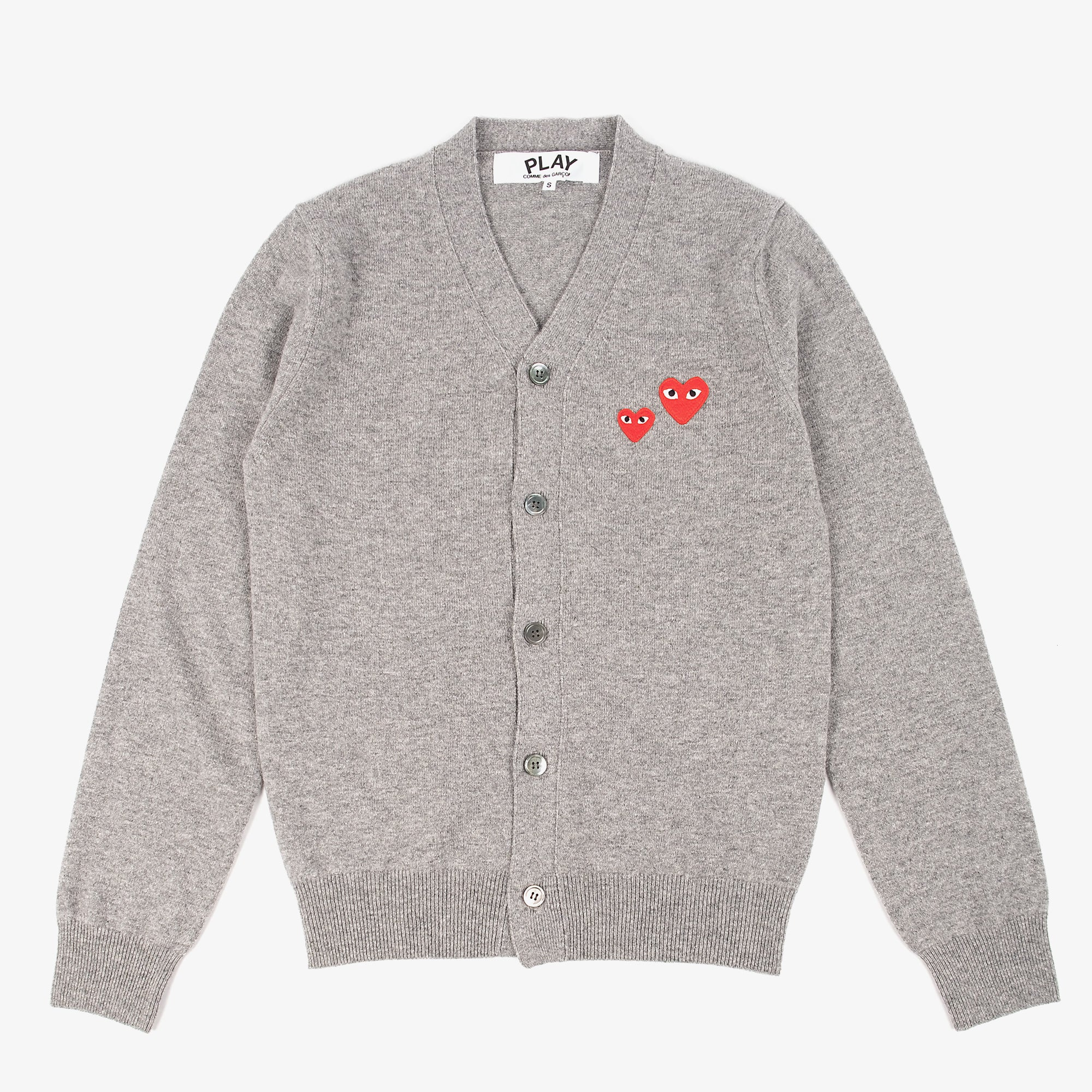 Comme des Garçons - PLAY Two Red Emblem Cardigan - Grey 1