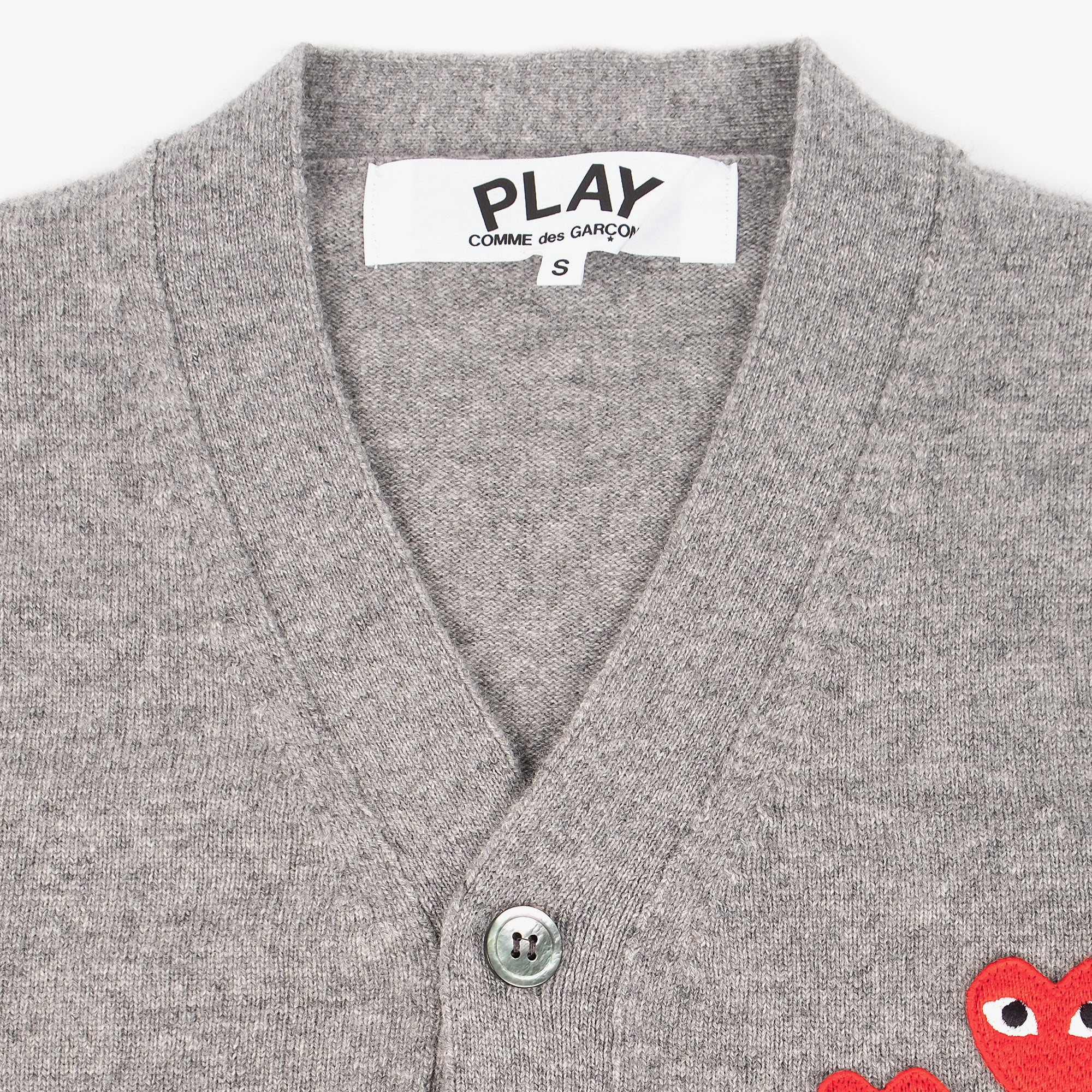 Comme des Garçons - PLAY Two Red Emblem Cardigan - Grey 2
