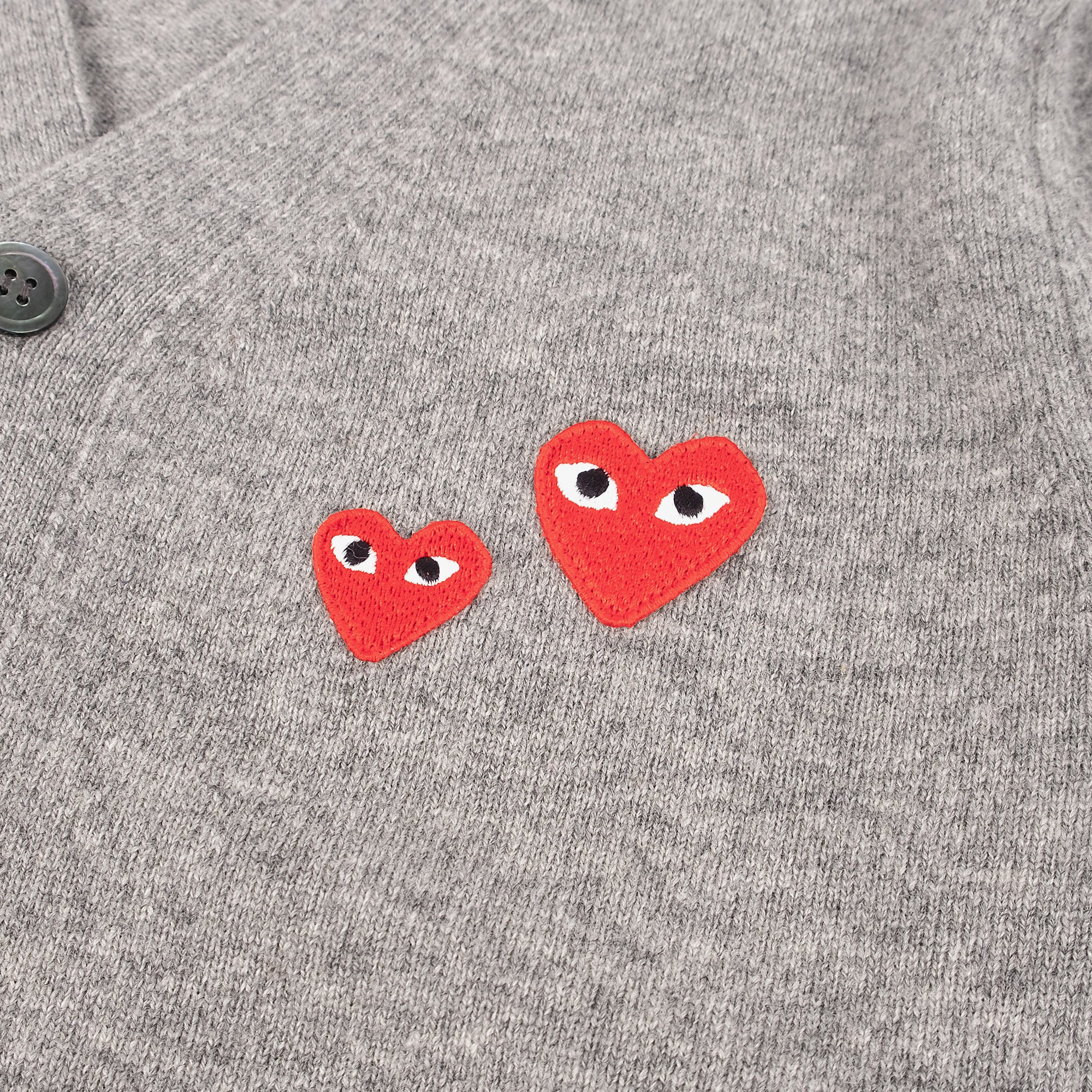 Comme des Garçons - PLAY Two Red Emblem Cardigan - Grey 3
