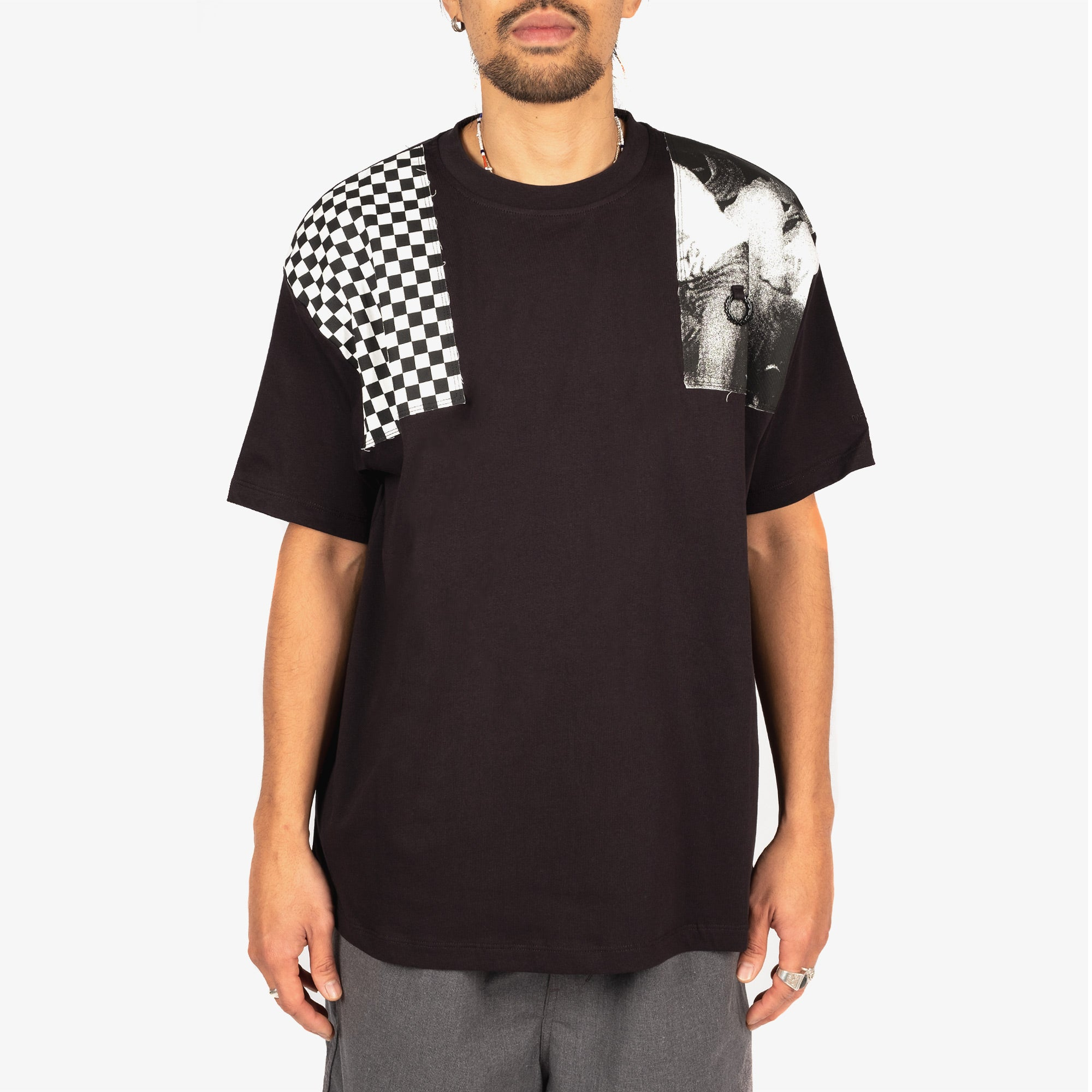 Fred Perry X Raf Simons Oversized Printed Patch Tee - Black 4