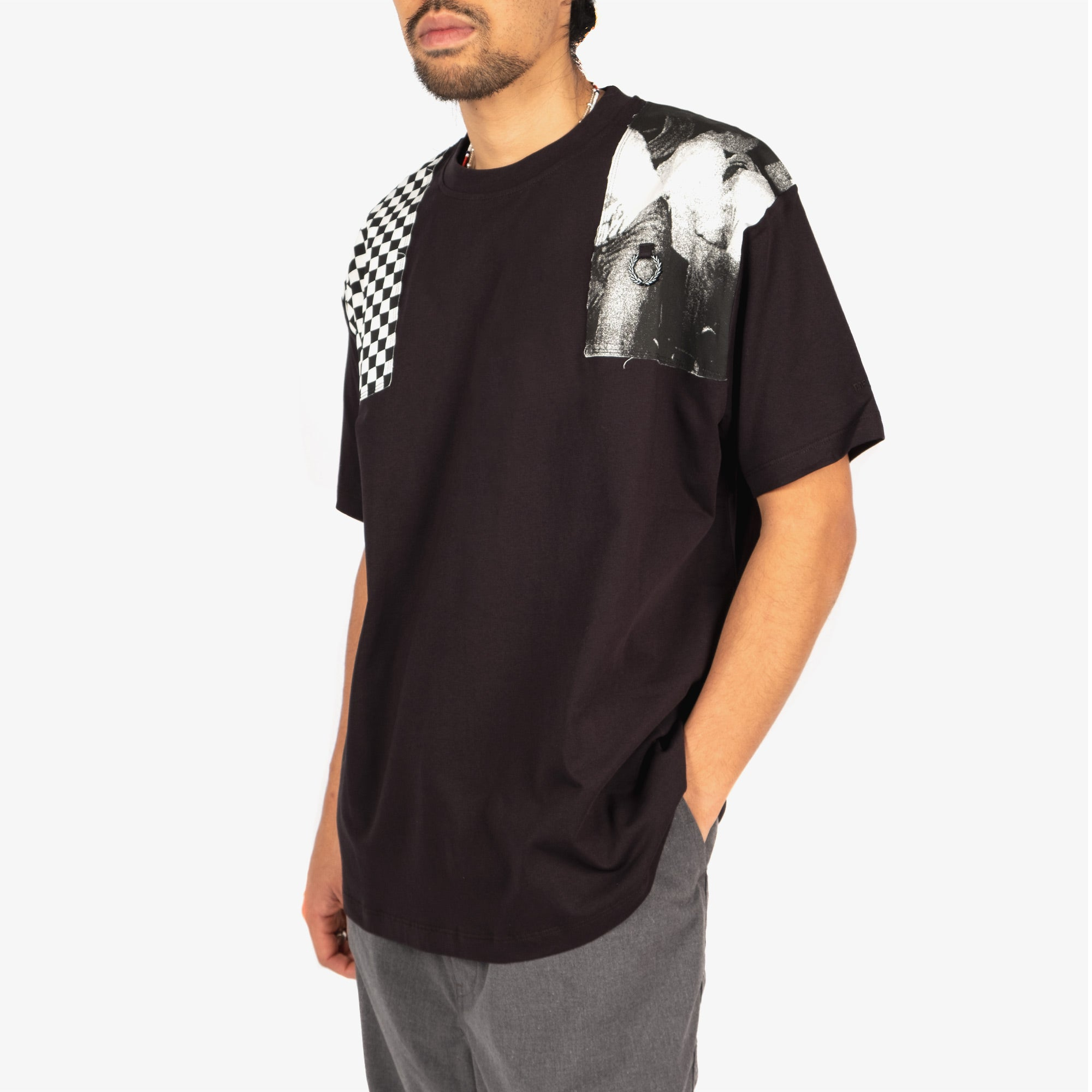Fred Perry X Raf Simons Oversized Printed Patch Tee - Black 5