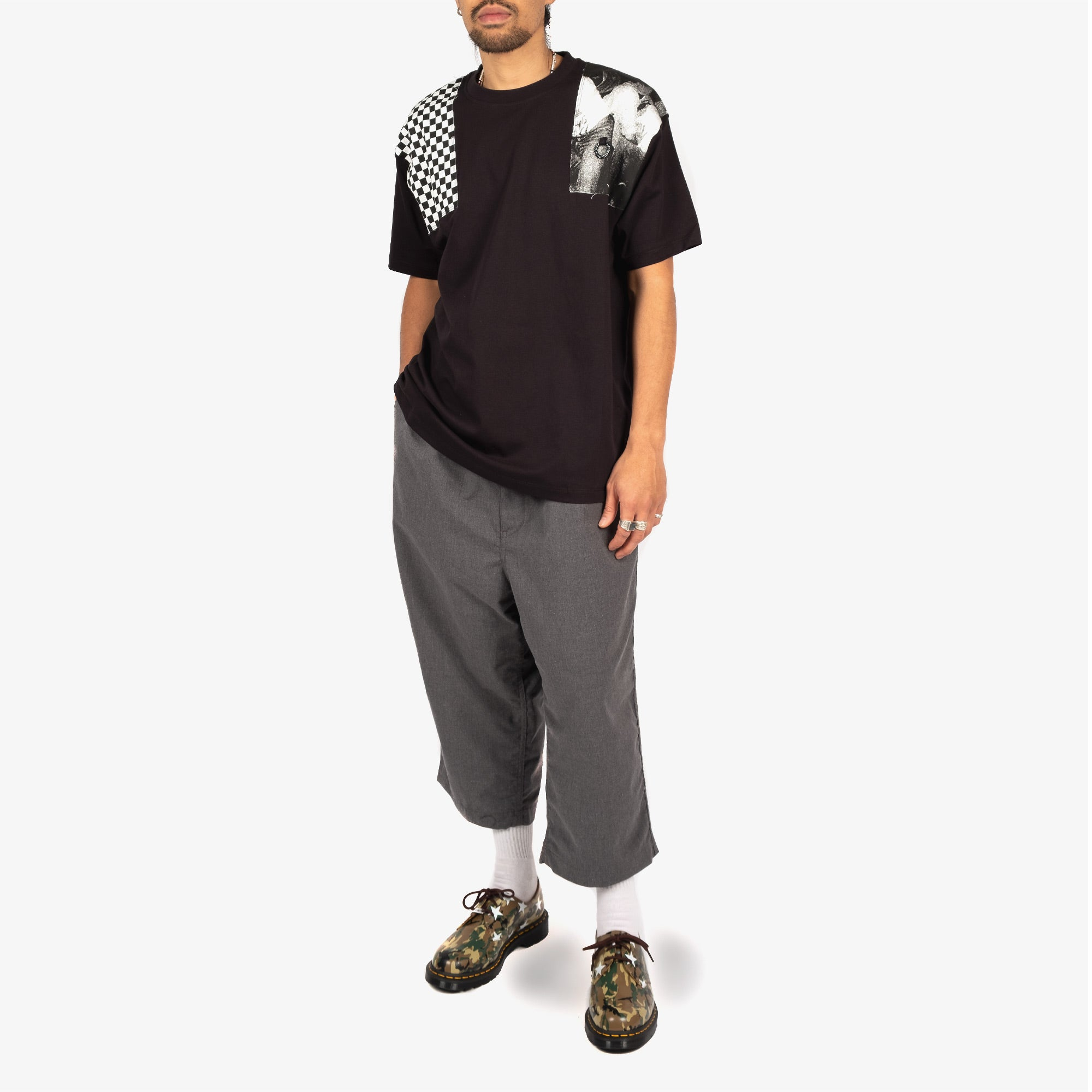 Fred Perry X Raf Simons Oversized Printed Patch Tee - Black 6