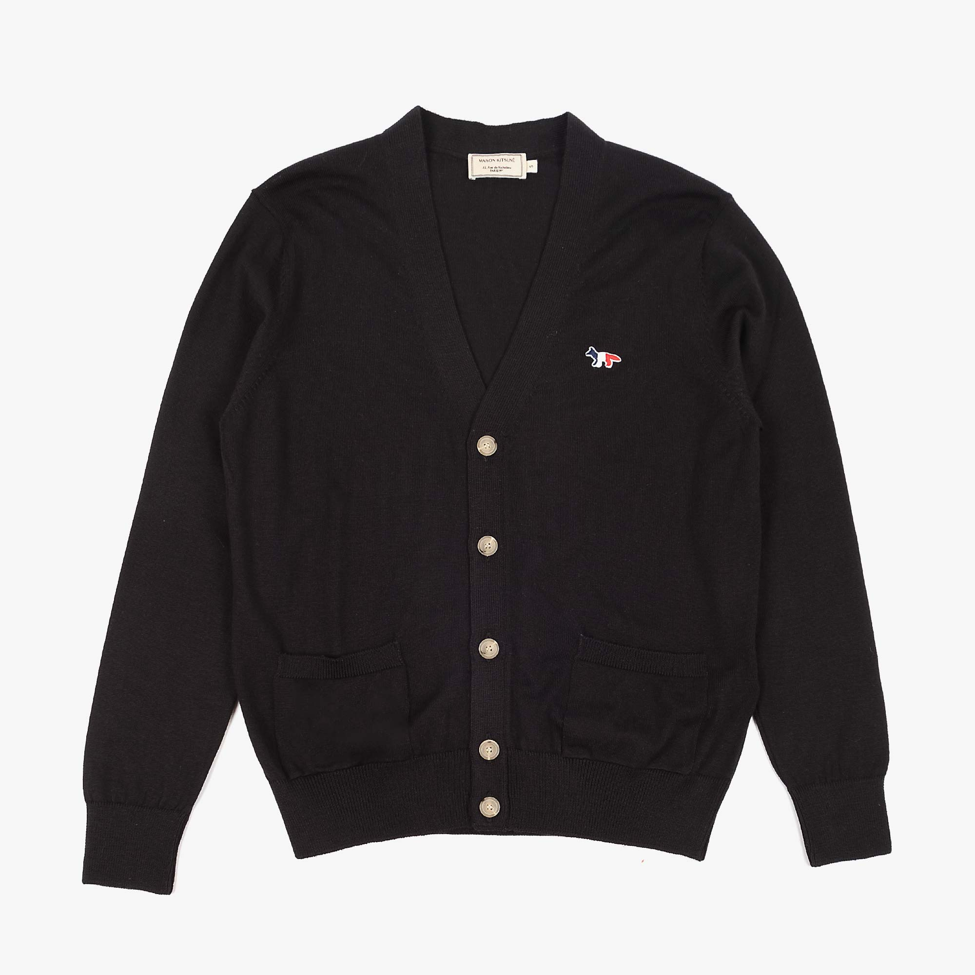 Maison Kitsune Mens Tricolour Fox Patch Merino Cardigan - Black 1