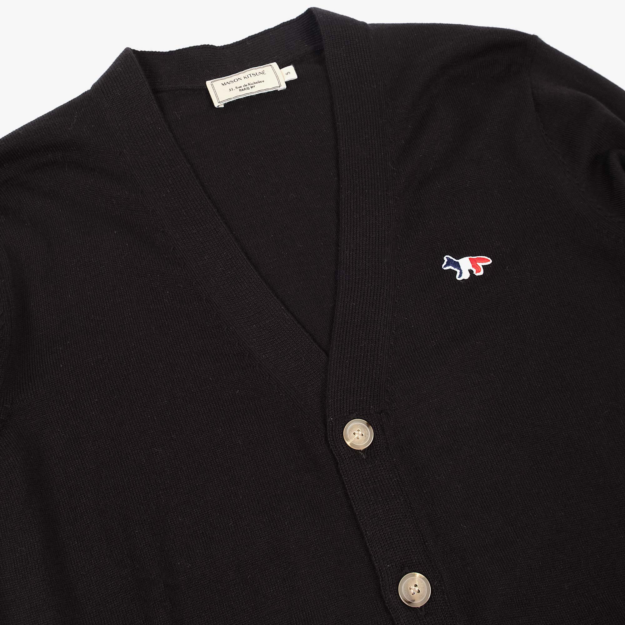 Maison Kitsune Mens Tricolour Fox Patch Merino Cardigan - Black 2