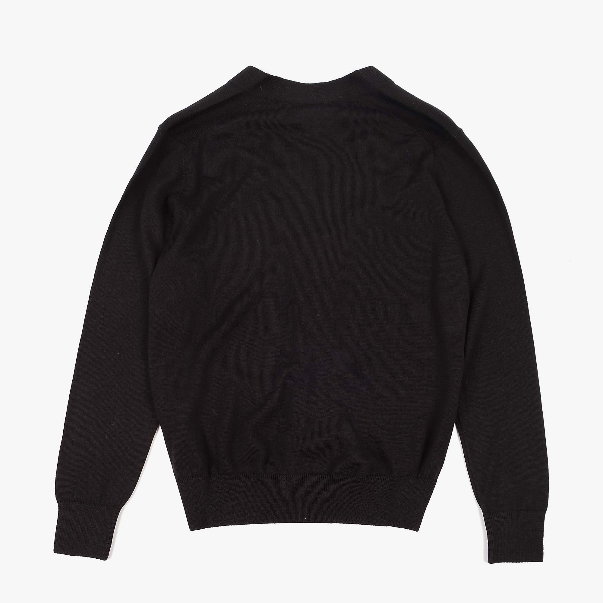 Maison Kitsune Mens Tricolour Fox Patch Merino Cardigan - Black 4