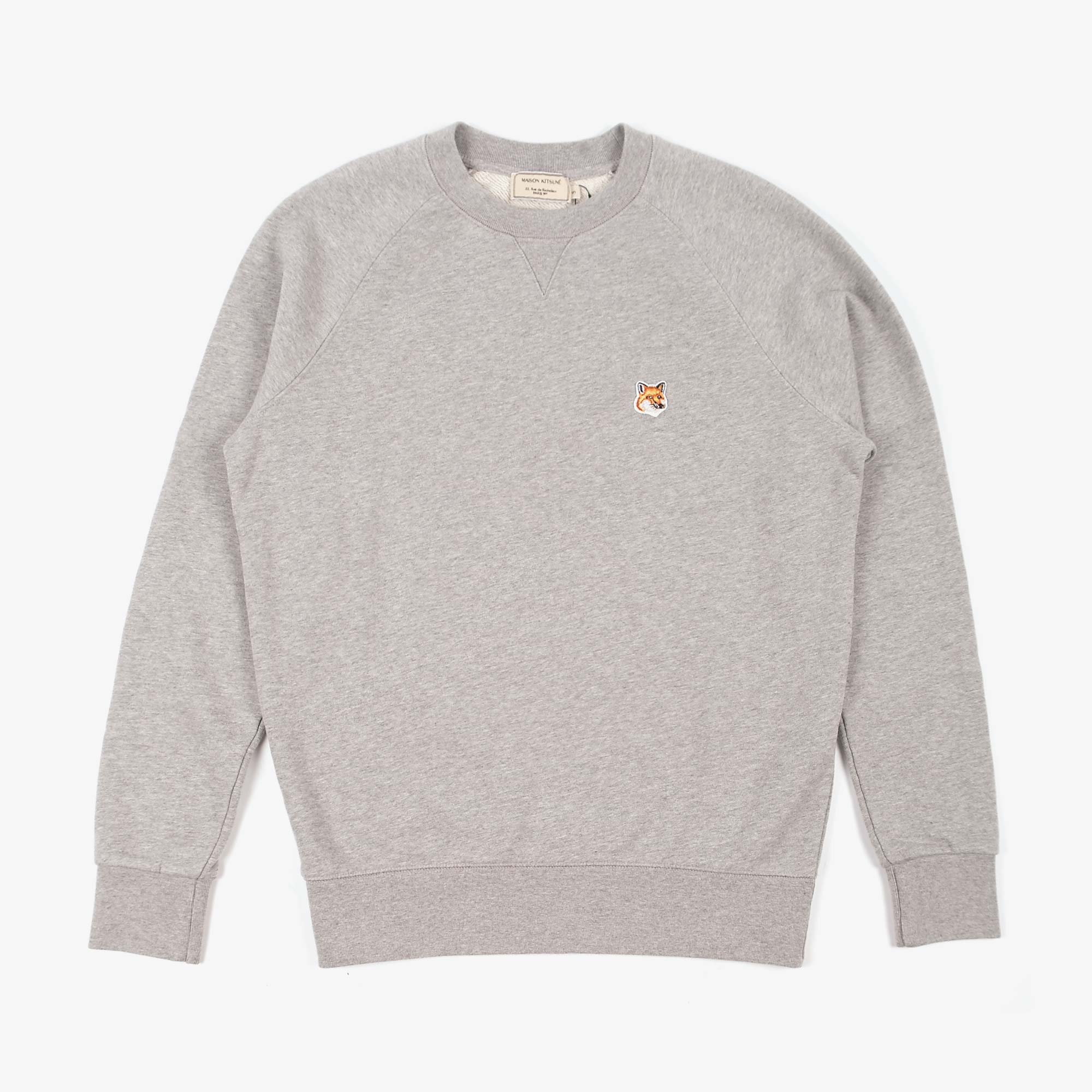 Maison Kitsune Mens Fox Head Patch Sweatshirt - Grey Melange 1