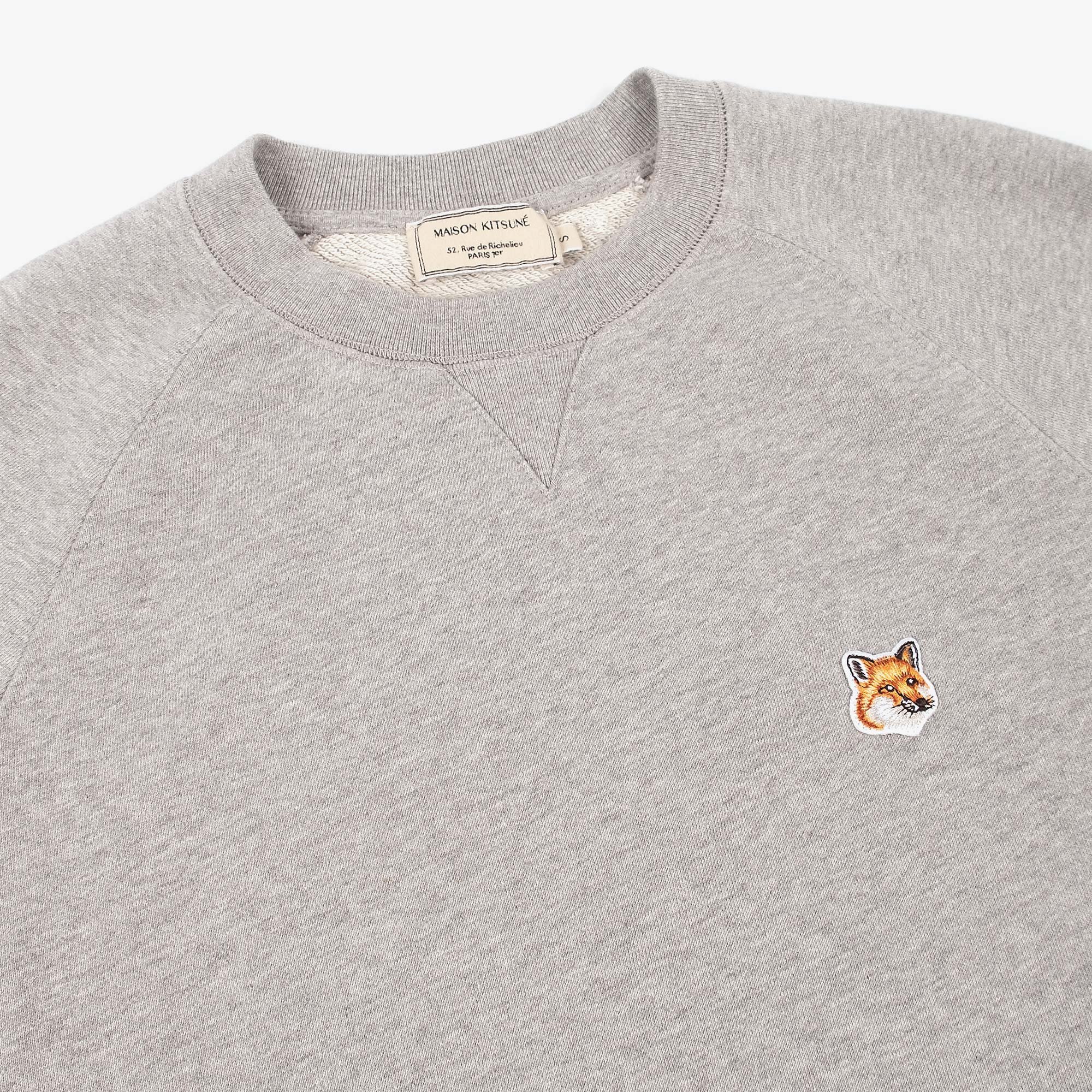 Maison Kitsune Mens Fox Head Patch Sweatshirt - Grey Melange 2