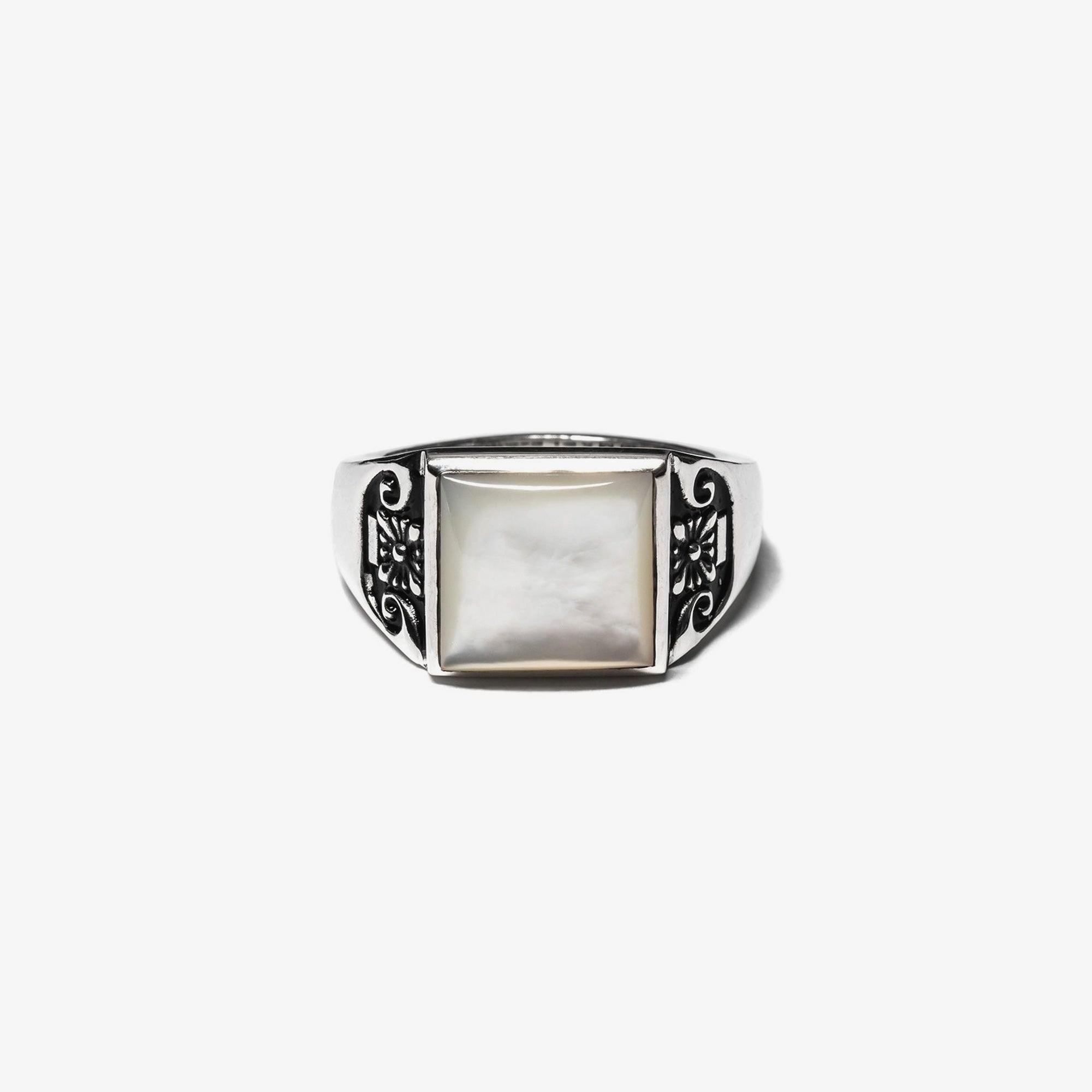 Maple Collegiate Ring Blank - Mother of Pearl / Silver 925 1
