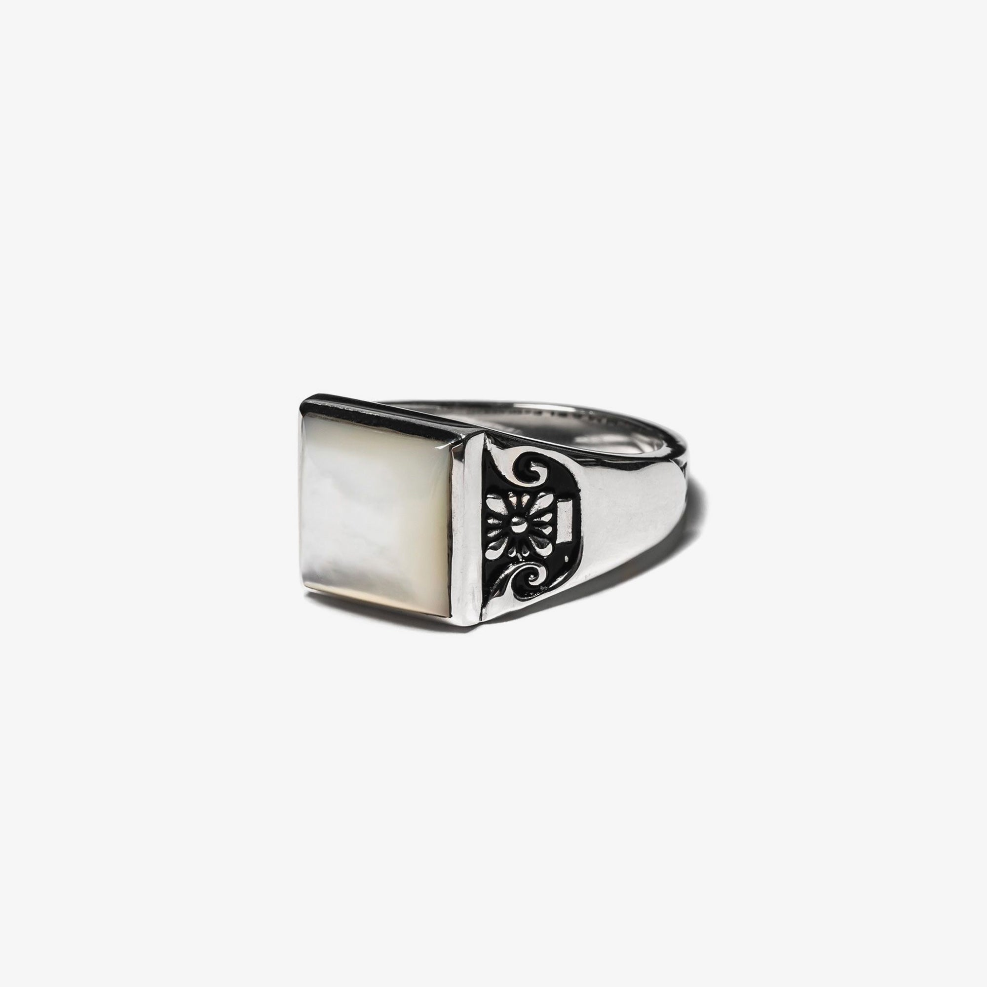 Maple Collegiate Ring Blank - Mother of Pearl / Silver 925 2