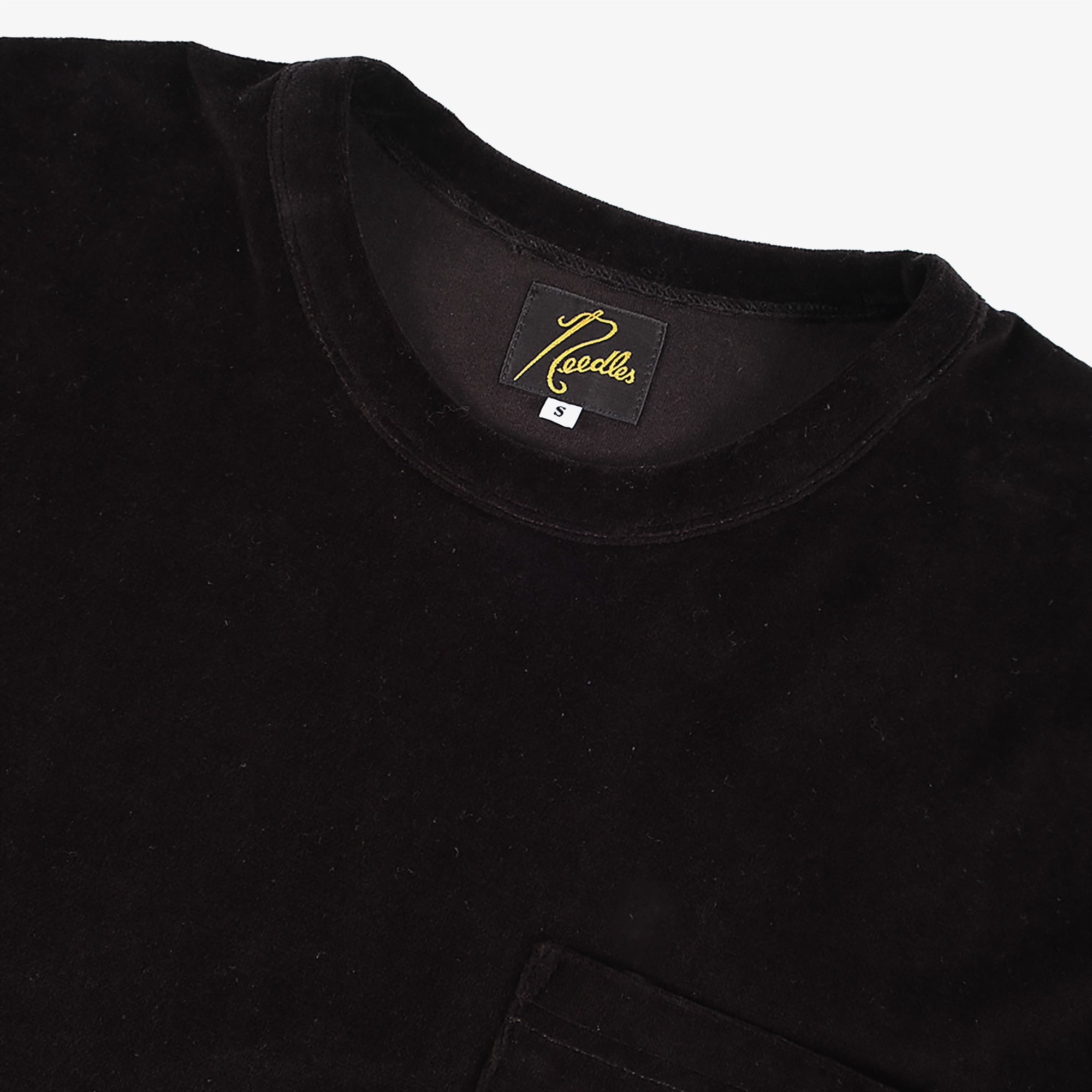 Needles Short Sleeve Pocket T-Shirt Velour - Black 3