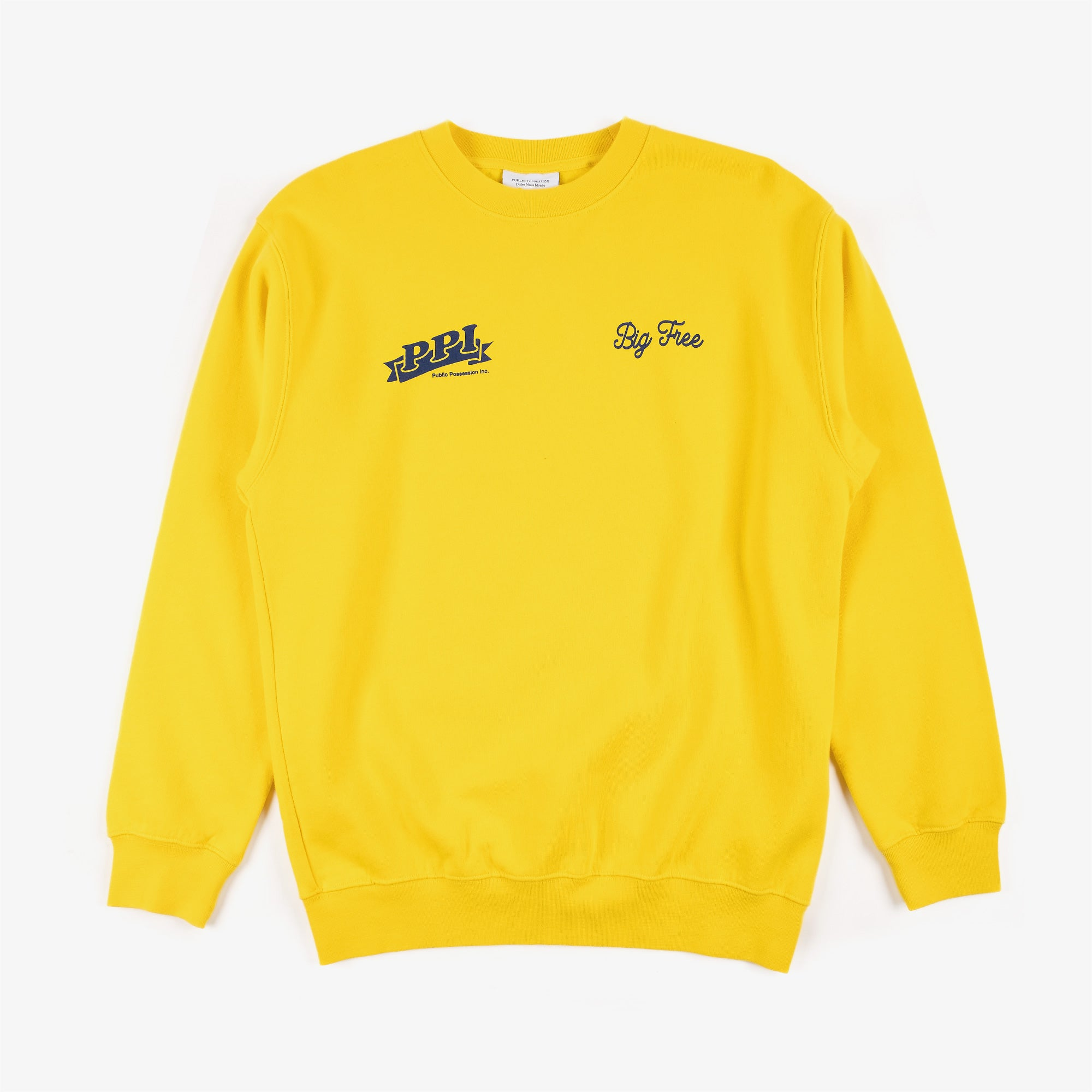 Public Possession Logo Crewneck Sweat - Yellow 1