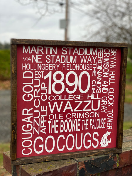 WSU Washington State University Subway Sign, Graduation Gift, 18x18x2