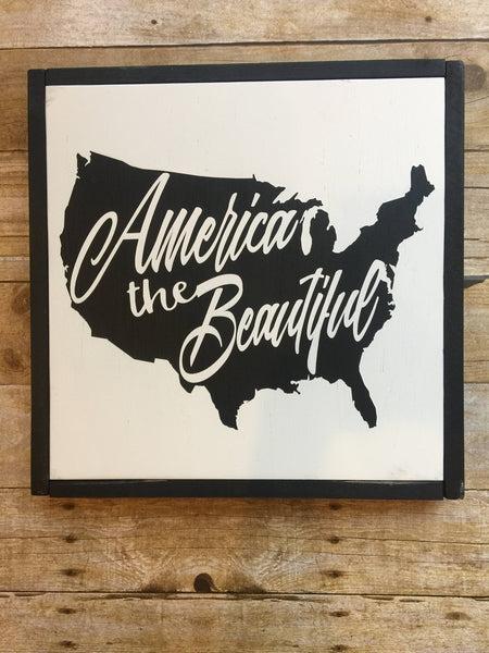 Wood Sign, America the Beautiful Sign, 15x15 Sign,
