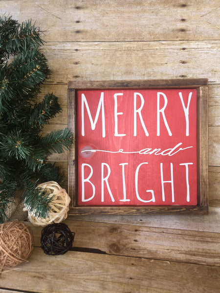 Merry and Bright wood sign, Christmas Home Decor, Customize the colors to your accent colors.