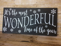 Winter decor sign, It's the most wonderful time of the year, Christmas Carol