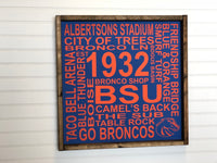 BSU Boise State University Subway Sign, Graduation Gift, 18x18x2