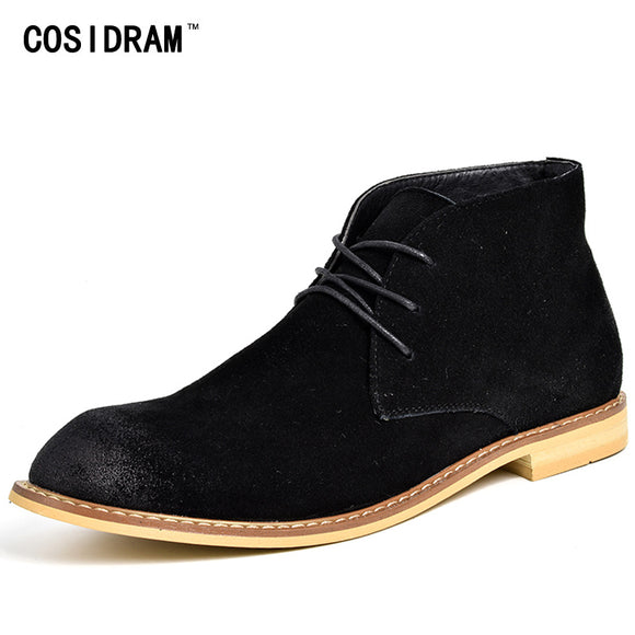 COSIDRAM Autumn Winter Suede Genuine Leather Men Boots Casual Ankle Chelsea Boots High Top Men Shoes Fashion Male Botas RMC-183