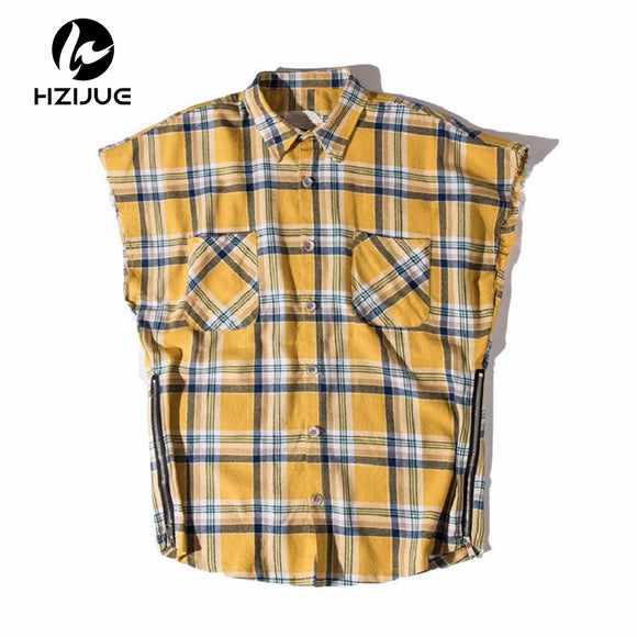 Side Zipper Plaid Flannel Shirt Men Sleeveless 2017Summer Oversize Hip Hop Shirts Plus Size Blue Shirt Men Justin Bieber Clothes