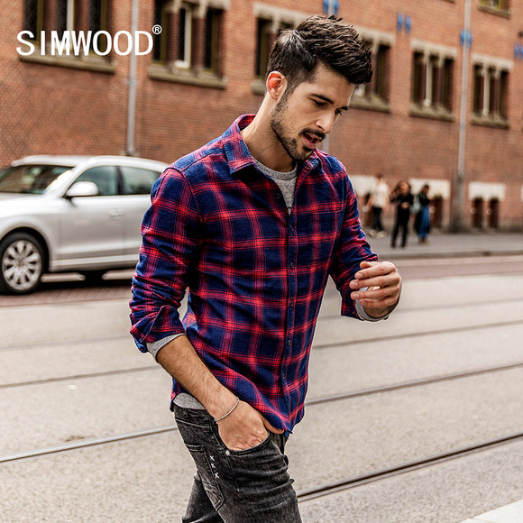 SIMWOOD 2018 Spring  Men Flannel Plaid Shirt 100% Cotton  Casual Long Sleeve Shirt Slim Fit Styles Brand Man Clothes CC017032