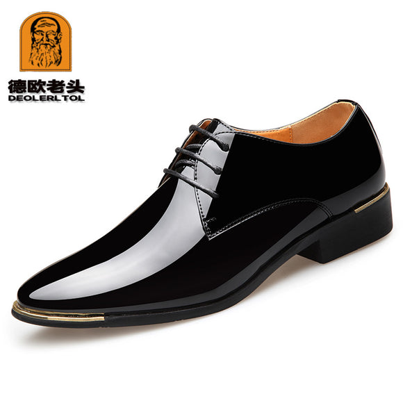 2018 Newly Men's Quality Patent Leather Shoes Zapatos de hombre Size 38-47 Black Leather Soft Man Dress Shoes