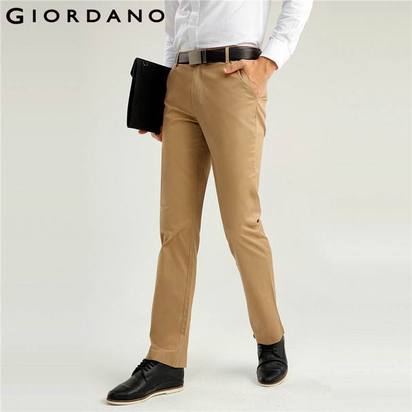 Giordano Men Brand Khaki Pants Slim Fit Quality Trousers Cotton Business Casual Modern Non-Iron Flat Front Suit Pant