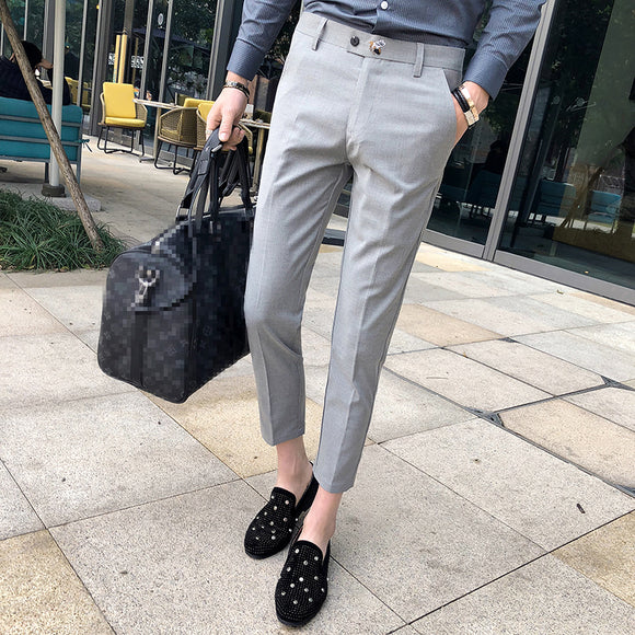 Perfume Masculino Grey Mens Dress Pants Slim Fit Black Formal Pants For Men Trouser Office Calca Social Pantalon Homme Classique