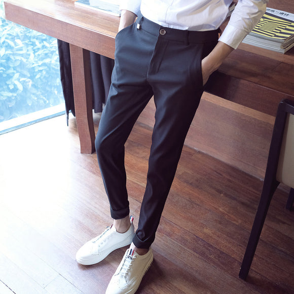 2018 summer mens formal dress pant straight stretch fit trousers male skinny pants business wear for man