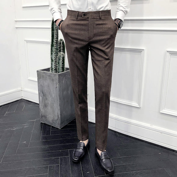 Men's Fashion Boutique Pure Formal Business Suit Pants Men's High-end Brand Wedding Dress Suit Pants Male Slim Casual Trousers