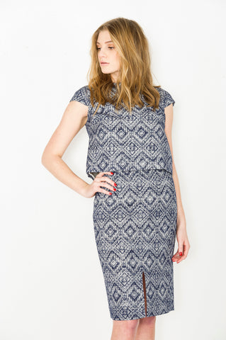 Bateau Neck Vent Dress