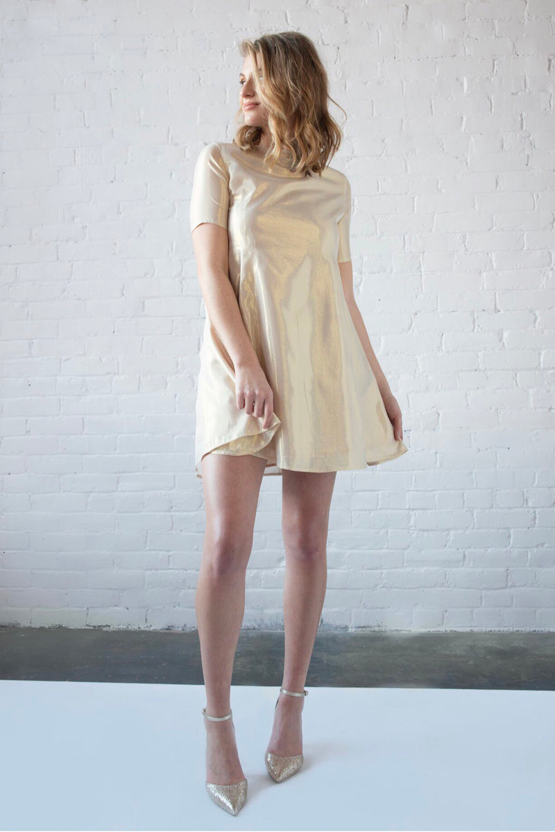 Silk Lamé Swing Dress