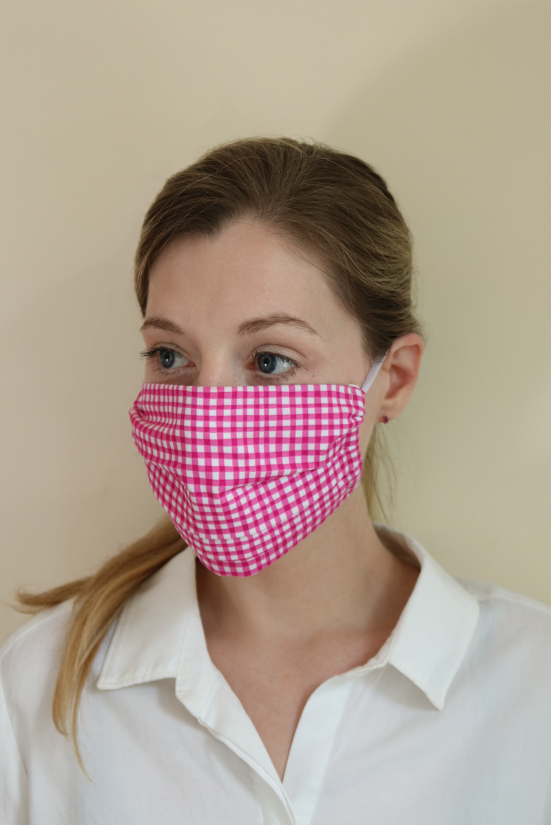 Watercolor Gingham Face Mask | 3 Pack