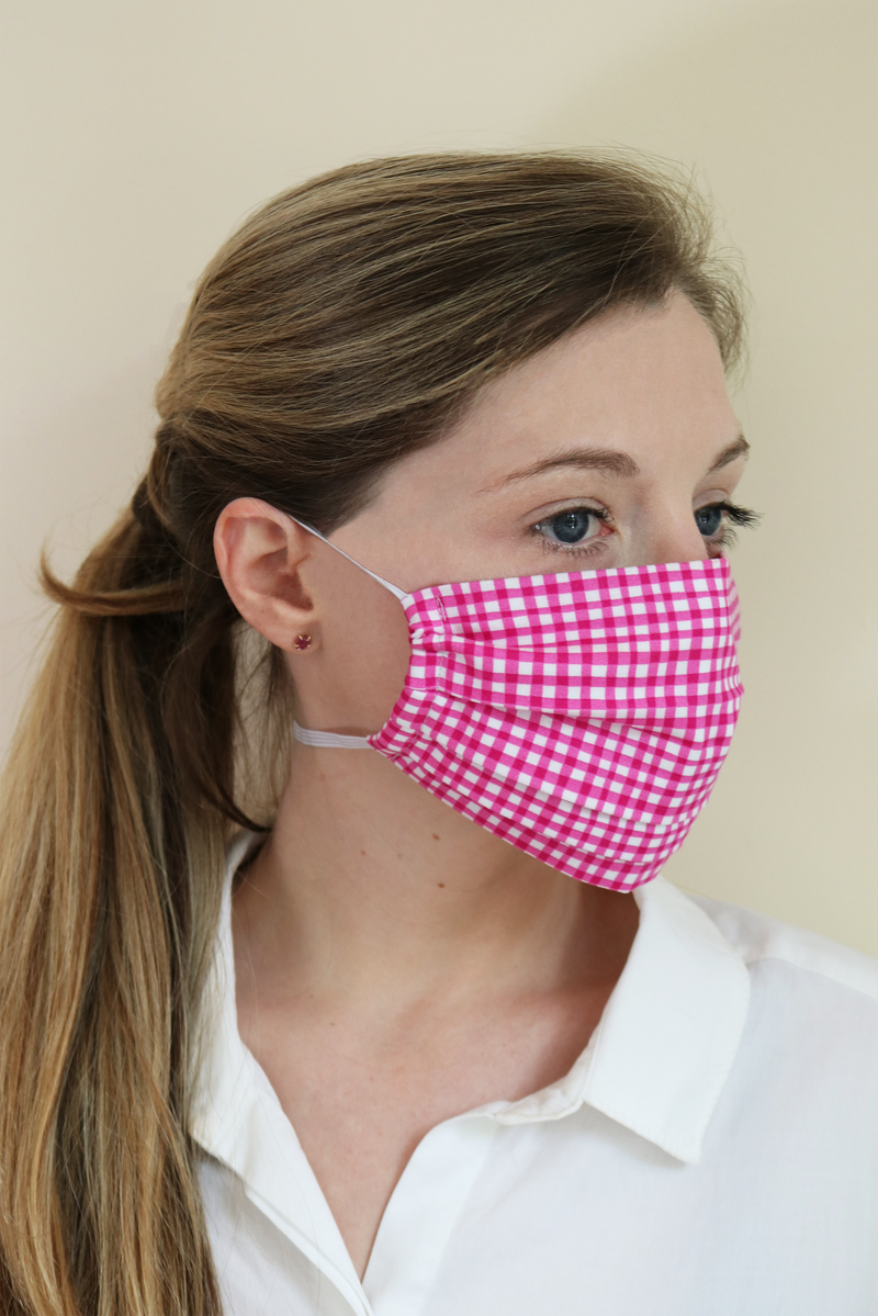 Watercolor Gingham Face Mask | 5 Pack