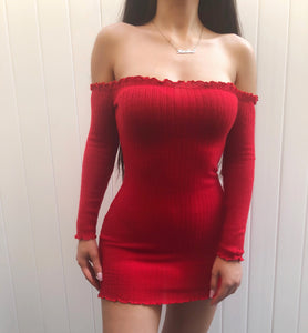 Daisy Sweater Dress - Black, Red