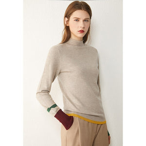 Lined Color block Turtleneck Sweater