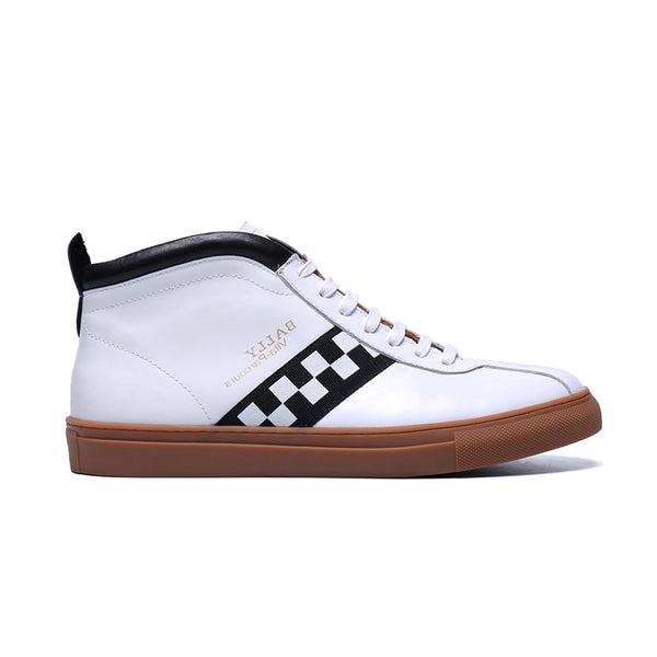 BA-MEN'S LAMB LEATHER LOW-TOP TRAINERS IN WHITE